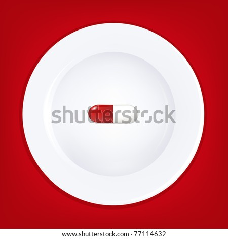 White Plate And Pill - stock photo