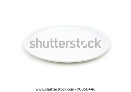 White plate. Empty flat plate over white background. - stock photo