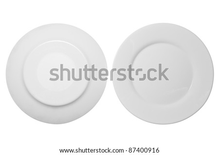 White plate in front and bottom isolated on white background - stock photo