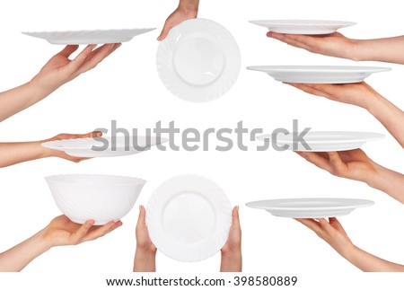 white plate in hand isolated on white background - stock photo