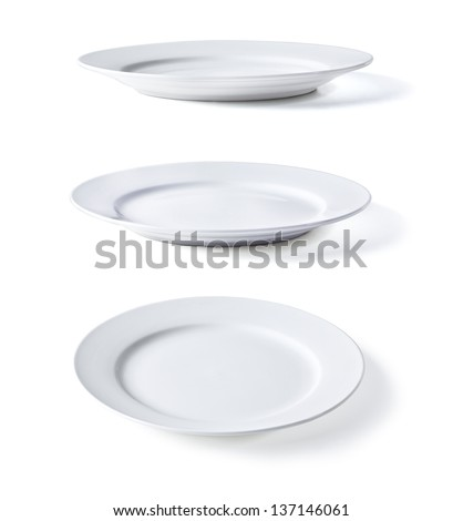 white plate in three dimensions on a white background - stock photo