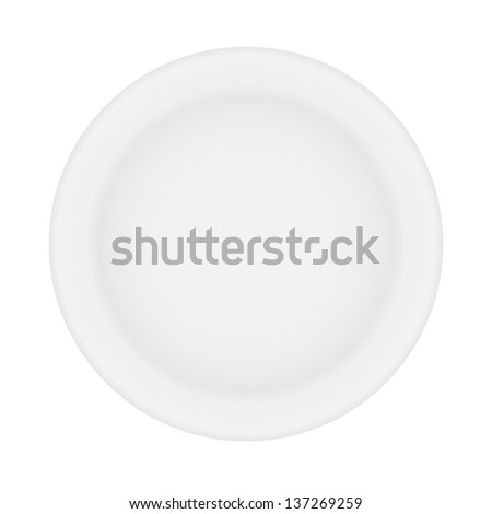 white plate isolated.  illustration.