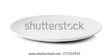 white plate isolated on a white background. - stock photo