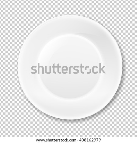 White Plate, Isolated on Transparent Background - stock photo