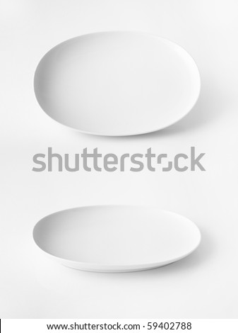 White  plate isolated on white - stock photo
