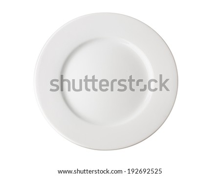 White Plate Isolated on White Background - stock photo