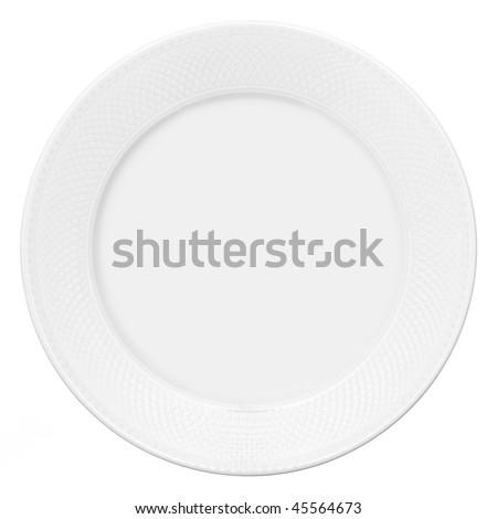 White plate isolated on white background - stock photo