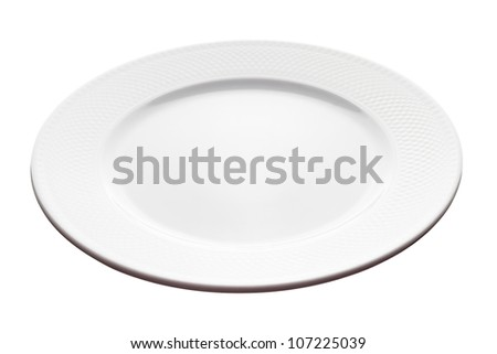 White plate isolated on white background (angle view, deep depth of field, picture is in focus from front to back). - stock photo