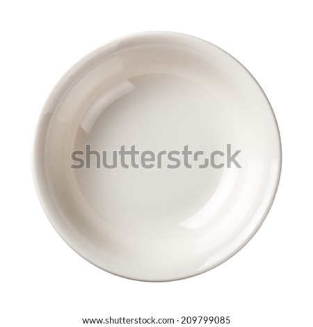White plate isolated on white background. Top view  - stock photo