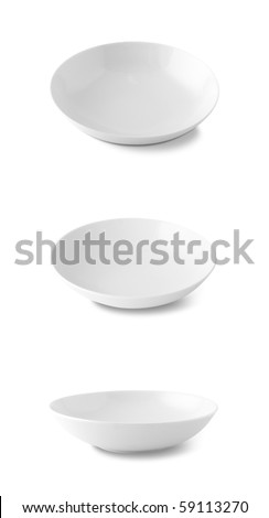 White plate isolated on white with path included - stock photo