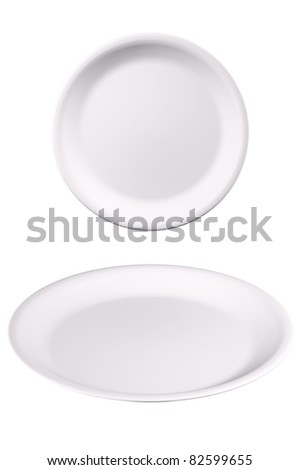 White plate isolated paths on white - stock photo