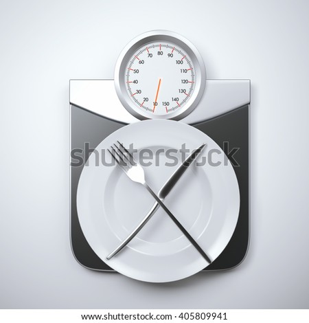 White plate on a weight scales. Diet menu concept. 3d rendering - stock photo
