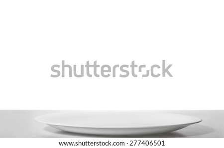 White plate on table with isolated background