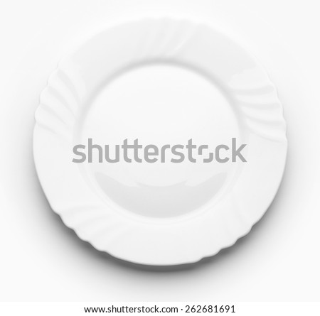 White plate on white background. Top view  - stock photo