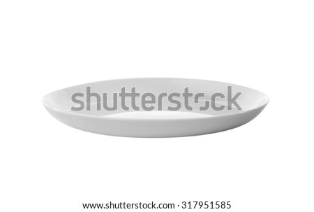 white plate, view from aside, isolated  - stock photo