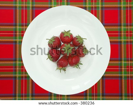White plate with strawberries
