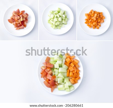 white plate with vegetable salad isolated on the white background - stock photo