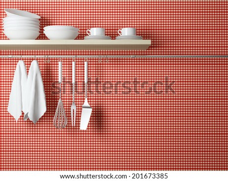White plates on the shelf, kitchen cooking utensils. Steel spatulas, whisk and towel in front of rustic red wall.  - stock photo