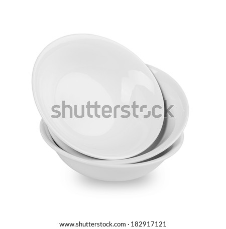 white plates stack isolated  - stock photo