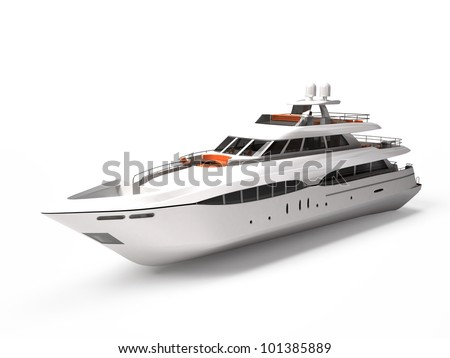 White pleasure yacht isolated on a white - stock photo