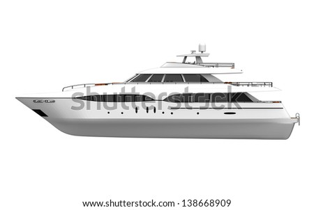 White Pleasure Yacht Isolated on White Background - stock photo