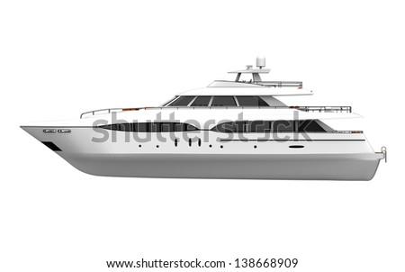 White Pleasure Yacht Isolated on White Background - stock photo