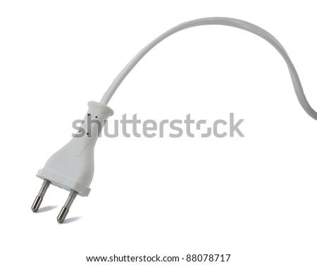 White plug isolated on white background - stock photo