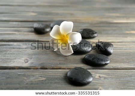 White plumeria flower with pebbles on wooden background