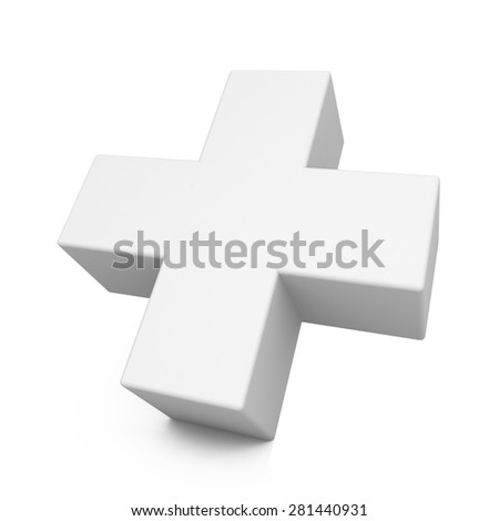 White plus sign isolated on white background with reflection - stock photo