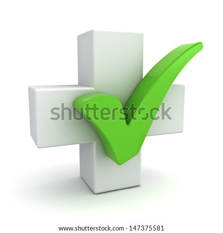 White plus sign with green check mark concept isolated on white background - stock photo