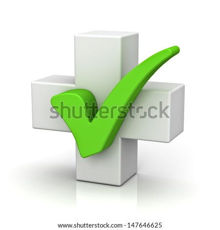 White plus sign with green check mark concept isolated on white background with reflection - stock photo