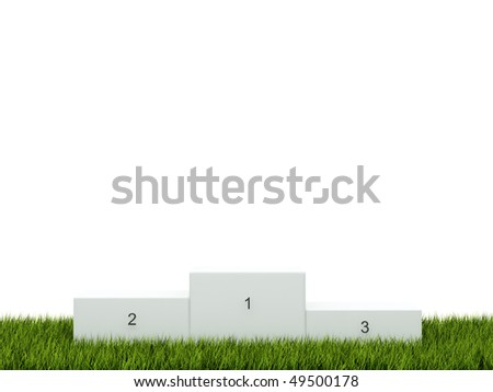 White podium on green grass - stock photo