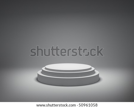 White podium on grey background - stock photo