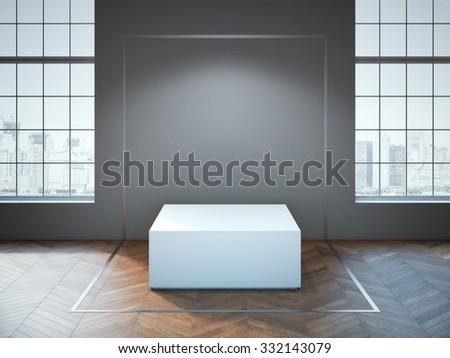 White podium on the wooden floor. 3d rendering - stock photo