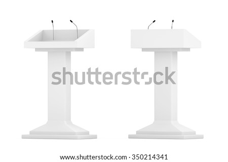 White Podium Tribune Rostrum Stands with Microphones on a white background - stock photo