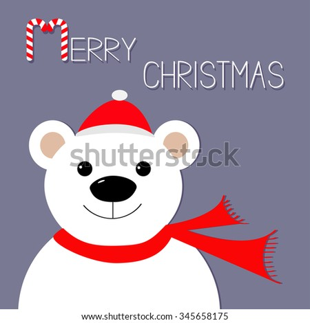 White polar bear in Santa Claus hat and scarf. Candy cane. Merry Christmas Greeting Card. Violet background. Flat design