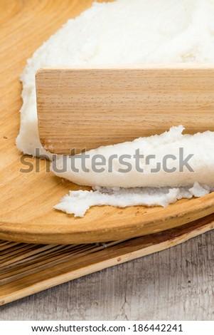 White polenta - stock photo