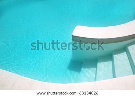 white pool turquoise water clean composition in mediterranean house - stock photo