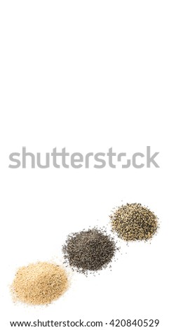 White poppy seed, black poppy seed and mix poppy seed over white background
