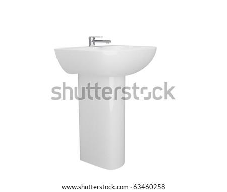 white porcelain bowl with chrome tap - stock photo