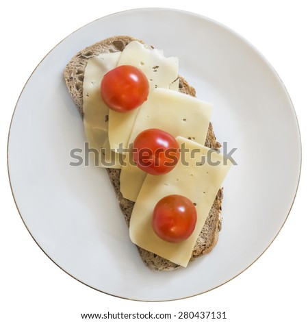 White Porcelain Plate, with Sandwich made of three fresh ripe juicy Tomatoes and Edam Cheese Slices. The main image subject is Isolated on White Background, and supported with Precise Clipping Path. - stock photo