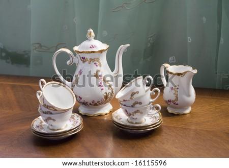 White porcelain set for tea or coffee - stock photo