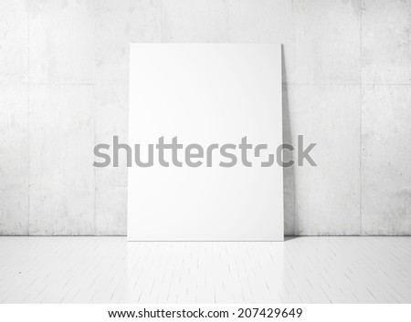 White poster on a concrete wall - stock photo