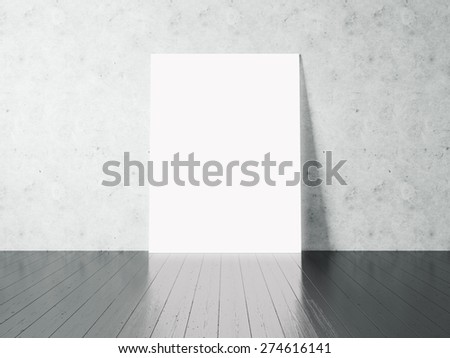 White poster on a concrete wall. 3d rendering - stock photo