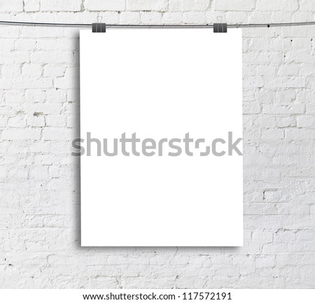 white poster on a rope - stock photo