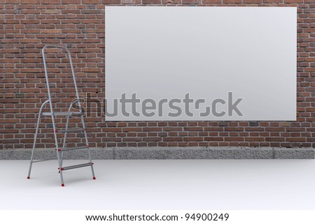 White poster on the street a brick wall. The metal staircase. 3D rendering - stock photo