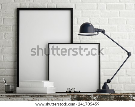 White poster on wall - stock photo