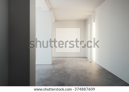 White poster on wall, in hipster loft style open space. 3d rendering - stock photo