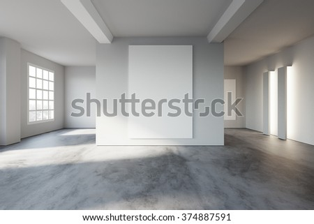 White poster on wall, in loft style open space. 3d rendering