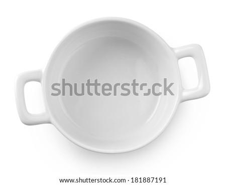 white pot tableware on white background - stock photo